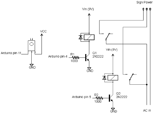 Schematic of the pedestrian sign controller.
